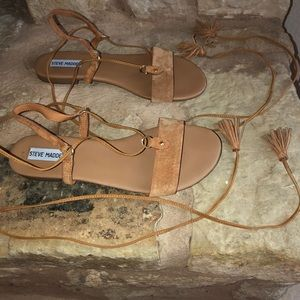 Steve Madden Sofya Tan suede lace up tassel sandal